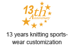 13 years knitting sportswear customization